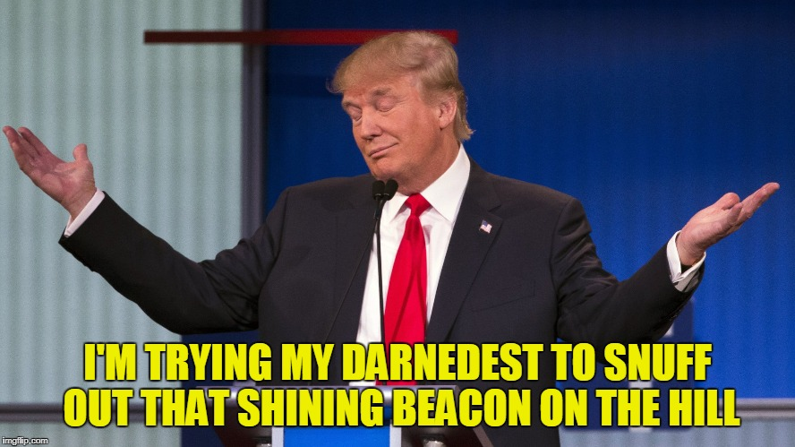 I'M TRYING MY DARNEDEST TO SNUFF OUT THAT SHINING BEACON ON THE HILL | made w/ Imgflip meme maker