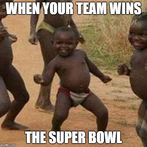 Third World Success Kid Meme | WHEN YOUR TEAM WINS THE SUPER BOWL | image tagged in memes,third world success kid | made w/ Imgflip meme maker