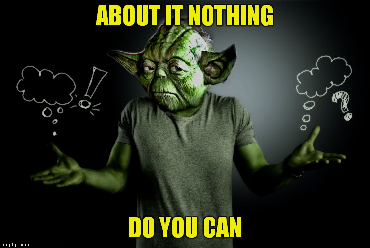 yoda shrug | ABOUT IT NOTHING DO YOU CAN | image tagged in yoda shrug | made w/ Imgflip meme maker