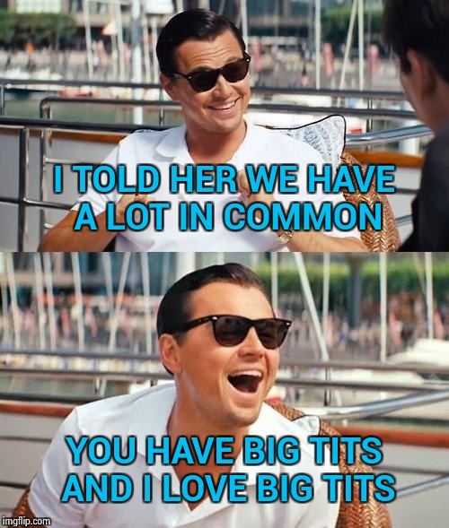 Honesty is the best policy | I TOLD HER WE HAVE A LOT IN COMMON YOU HAVE BIG TITS AND I LOVE BIG TITS | image tagged in memes,leonardo dicaprio wolf of wall street,big boobs,i love you,letsgetwordy,nsfw | made w/ Imgflip meme maker