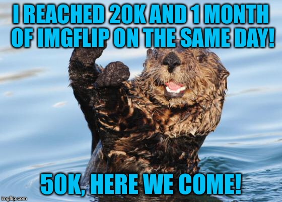 Thank you all for getting me here! I really appreciate it!! | I REACHED 20K AND 1 MONTH OF IMGFLIP ON THE SAME DAY! 50K, HERE WE COME! | image tagged in otter celebration,memes,otter,animals,20k,50k | made w/ Imgflip meme maker
