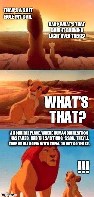 Simba learns about shitholes. | DAD? WHAT'S THAT BRIGHT BURNING LIGHT OVER THERE? THAT'S A SHIT HOLE MY SON. WHAT'S THAT? A HORRIBLE PLACE. WHERE HUMAN CIVILIZATION HAS FAI | image tagged in simba,shithole,civilization,humanity,memes | made w/ Imgflip meme maker