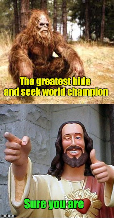He's been gone longer than Bigfoot | The greatest hide and seek world champion Sure you are | image tagged in memes,bigfoot,buddy christ | made w/ Imgflip meme maker