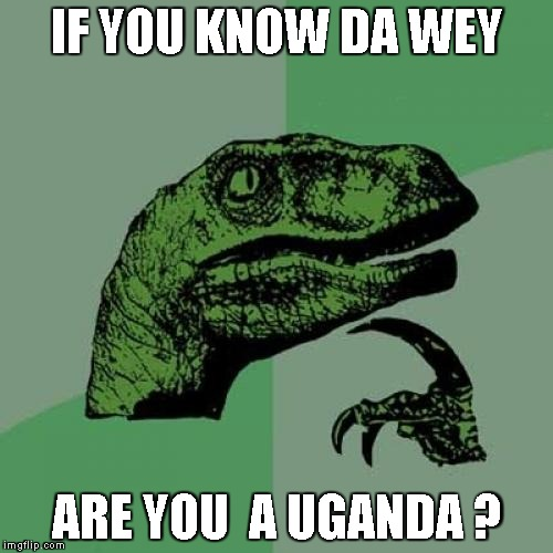Philosoraptor Meme | IF YOU KNOW DA WEY ARE YOU  A UGANDA ? | image tagged in memes,philosoraptor | made w/ Imgflip meme maker