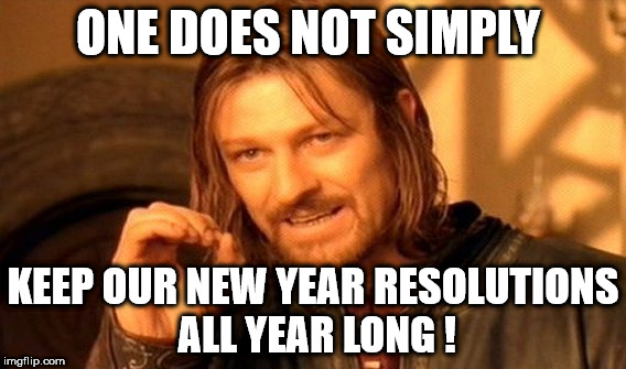 One Does Not Simply Meme | ONE DOES NOT SIMPLY KEEP OUR NEW YEAR RESOLUTIONS ALL YEAR LONG ! | image tagged in memes,one does not simply | made w/ Imgflip meme maker