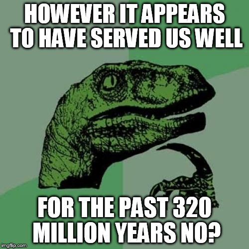 Philosoraptor Meme | HOWEVER IT APPEARS TO HAVE SERVED US WELL FOR THE PAST 320 MILLION YEARS NO? | image tagged in memes,philosoraptor | made w/ Imgflip meme maker