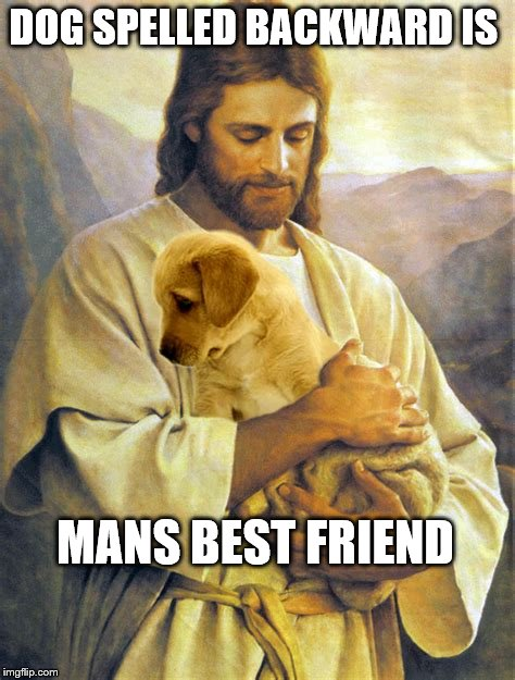 DOG SPELLED BACKWARD IS MANS BEST FRIEND | image tagged in jesus and his dog | made w/ Imgflip meme maker