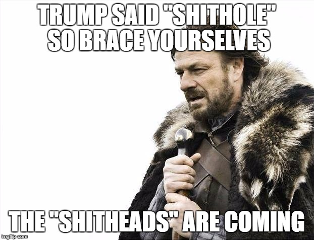"Brace Yourselves X is Coming Meme | TRUMP SAID ""SHITHOLE"" SO BRACE YOURSELVES THE ""SHITHEADS"" ARE COMING 