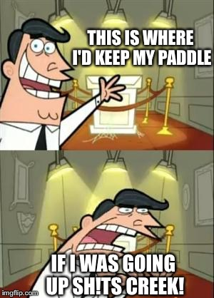 I'm gonna need a larger paddle! | THIS IS WHERE I'D KEEP MY PADDLE IF I WAS GOING UP SH!TS CREEK! | image tagged in memes,funny,participation trophy | made w/ Imgflip meme maker