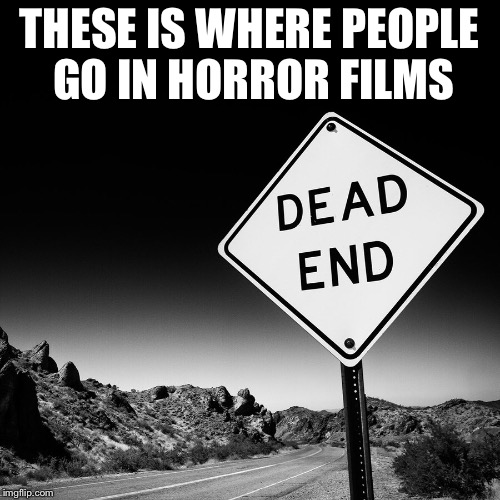 Dead road | THESE IS WHERE PEOPLE GO IN HORROR FILMS | image tagged in funny memes | made w/ Imgflip meme maker