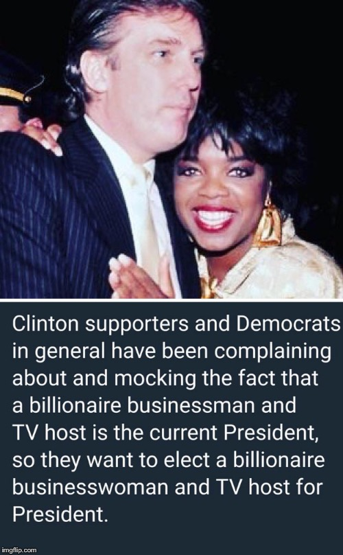 Two Peas Being Very Chummy | image tagged in oprah,donald trump,president,billionaire,establishment | made w/ Imgflip meme maker