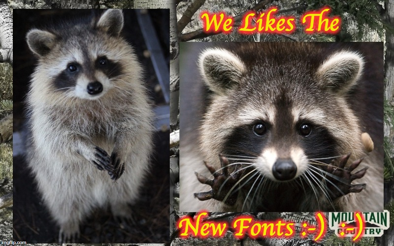 We Likes The New Fonts :-)  :-) | made w/ Imgflip meme maker