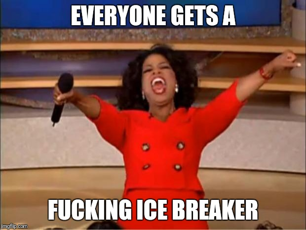 Oprah You Get A Meme | EVERYONE GETS A F**KING ICE BREAKER | image tagged in memes,oprah you get a | made w/ Imgflip meme maker