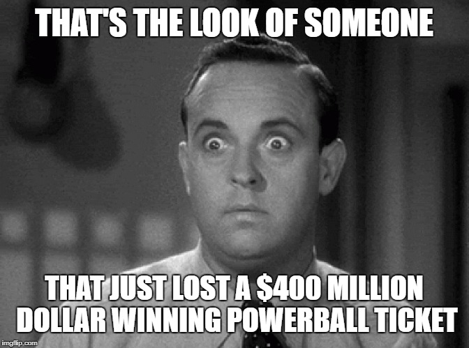 shocked face | THAT'S THE LOOK OF SOMEONE THAT JUST LOST A $400 MILLION DOLLAR WINNING POWERBALL TICKET | image tagged in shocked face | made w/ Imgflip meme maker