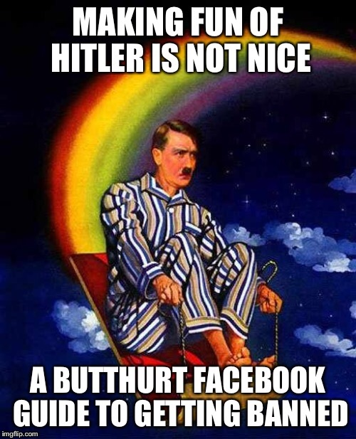 So I got banned from Facebook for posting two hitler memes.  So I made this one... | A | image tagged in random hitler,facebook,sucks | made w/ Imgflip meme maker