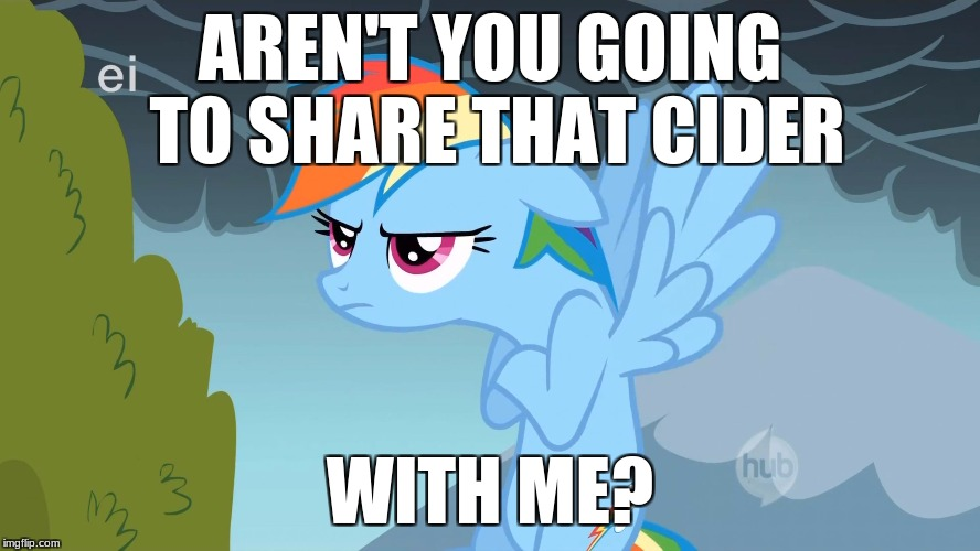 Grumpy Pony | AREN'T YOU GOING TO SHARE THAT CIDER WITH ME? | image tagged in grumpy pony | made w/ Imgflip meme maker