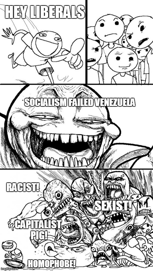 Hey Internet Meme | HEY LIBERALS SOCIALISM FAILED VENEZUELA RACIST! SEXIST! HOMOPHOBE! CAPITALIST PIG! | image tagged in memes,hey internet | made w/ Imgflip meme maker