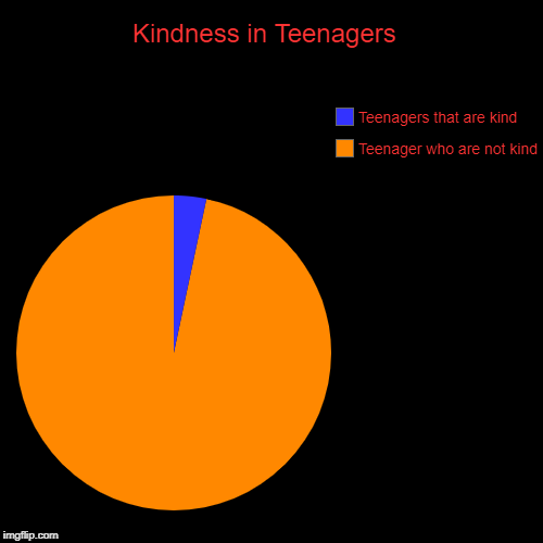 Kindness in Teenagers  | Teenager who are not kind, Teenagers that are kind | image tagged in funny,pie charts | made w/ Imgflip pie chart maker