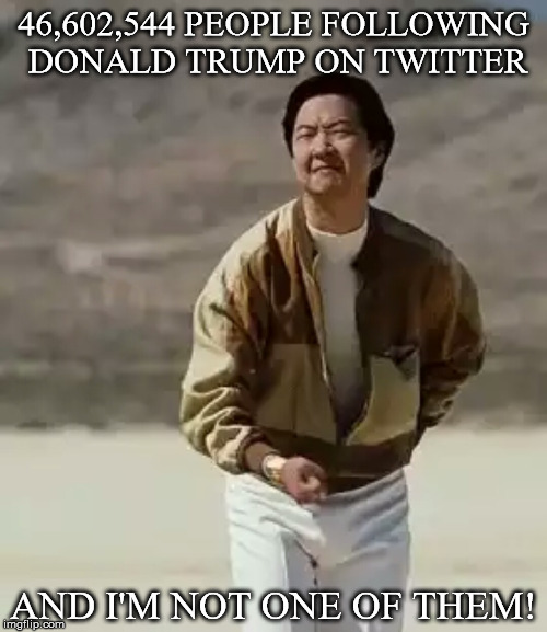 Mr chow | 46,602,544 PEOPLE FOLLOWING DONALD TRUMP ON TWITTER AND I'M NOT ONE OF THEM! | image tagged in mr chow | made w/ Imgflip meme maker