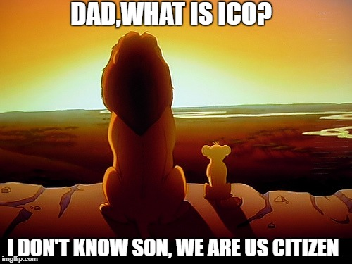 Lion King Meme | DAD,WHAT IS ICO? I DON'T KNOW SON, WE ARE US CITIZEN | image tagged in memes,lion king | made w/ Imgflip meme maker