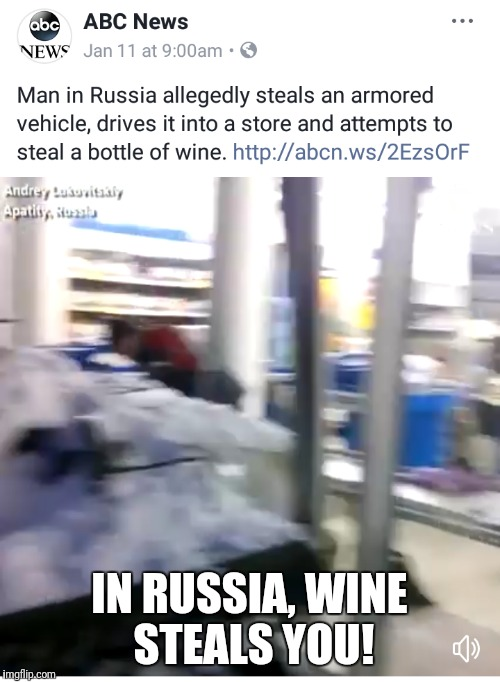 Stupid criminals week. A MemefordandSons event | IN RUSSIA, WINE STEALS YOU! | image tagged in memes,stupid criminals,russia,wine | made w/ Imgflip meme maker