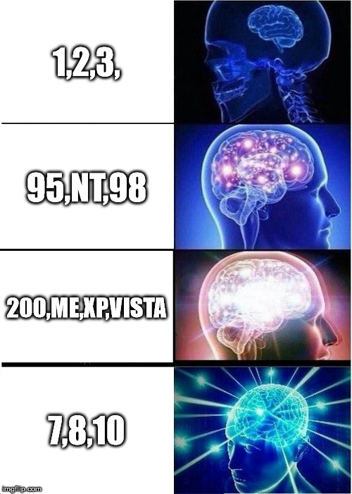 Expanding Brain Meme | 1,2,3, 95,NT,98 200,ME,XP,VISTA 7,8,10 | image tagged in memes,expanding brain | made w/ Imgflip meme maker