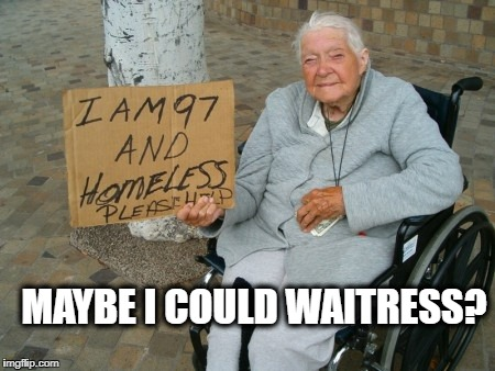 Lazy welfare | MAYBE I COULD WAITRESS? | image tagged in lazy welfare | made w/ Imgflip meme maker