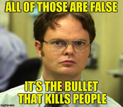 ALL OF THOSE ARE FALSE IT'S THE BULLET THAT KILLS PEOPLE | made w/ Imgflip meme maker