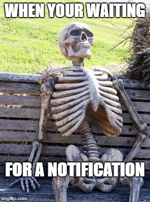Waiting Skeleton Meme | WHEN YOUR WAITING FOR A NOTIFICATION | image tagged in memes,waiting skeleton | made w/ Imgflip meme maker