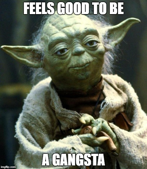 Star Wars Yoda Meme | FEELS GOOD TO BE A GANGSTA | image tagged in memes,star wars yoda | made w/ Imgflip meme maker