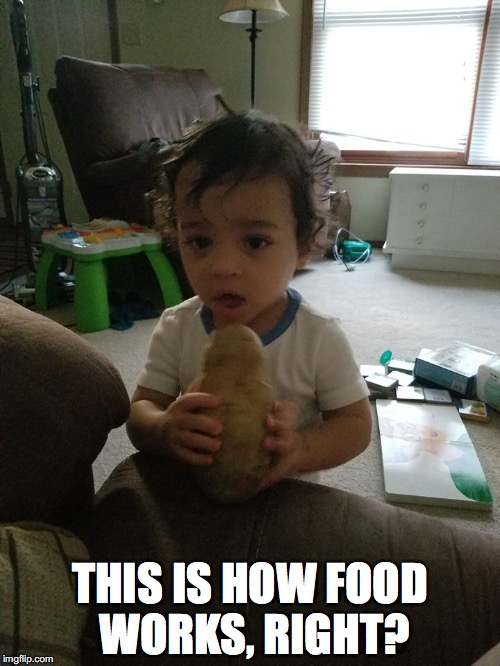 THIS IS HOW FOOD WORKS, RIGHT? | image tagged in memes,funny memes,baby,toddler,potato,food | made w/ Imgflip meme maker