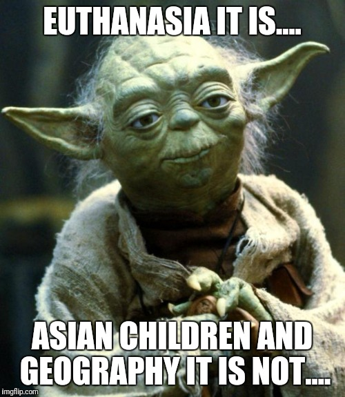 It's a dead subject, anyway.... | EUTHANASIA IT IS.... ASIAN CHILDREN AND GEOGRAPHY IT IS NOT.... | image tagged in memes,star wars yoda | made w/ Imgflip meme maker