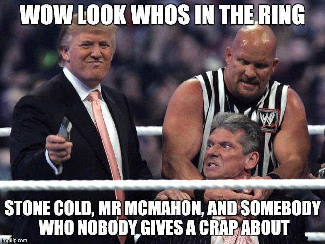 WOW LOOK WHOS IN THE RING STONE COLD, MR MCMAHON, AND SOMEBODY WHO NOBODY GIVES A CRAP ABOUT | image tagged in trump wwe | made w/ Imgflip meme maker