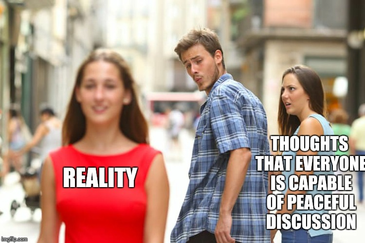Distracted Boyfriend Meme | REALITY THOUGHTS THAT EVERYONE IS CAPABLE OF PEACEFUL DISCUSSION | image tagged in memes,distracted boyfriend | made w/ Imgflip meme maker