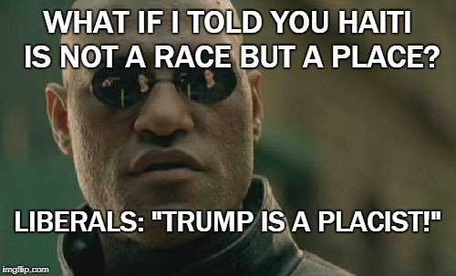 "Matrix Morpheus Meme | WHAT IF I TOLD YOU HAITI IS NOT A RACE BUT A PLACE? LIBERALS: ""TRUMP IS A PLACIST!"" 