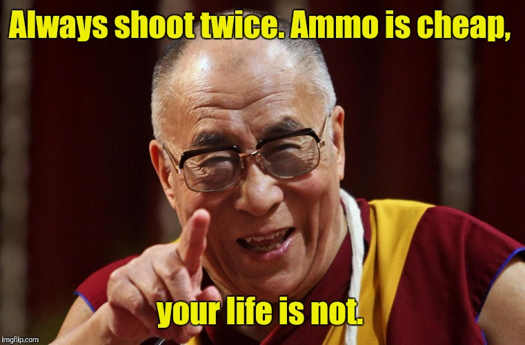 Always shoot twice. Ammo is cheap, your life is not. | made w/ Imgflip meme maker