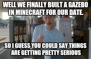 So I Guess You Can Say Things Are Getting Pretty Serious Meme | WELL WE FINALLY BUILT A GAZEBO IN MINECRAFT FOR OUR DATE. SO I GUESS YOU COULD SAY THINGS ARE GETTING PRETTY SERIOUS | image tagged in memes,so i guess you can say things are getting pretty serious | made w/ Imgflip meme maker