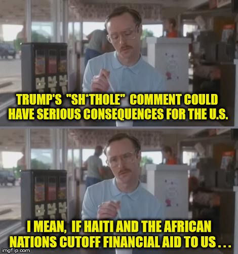 "How Will We Ever Survive Without Their Assistance | TRUMP'S  ""SH*THOLE""  COMMENT COULD HAVE SERIOUS CONSEQUENCES FOR THE U.S. I MEAN,  IF HAITI AND THE AFRICAN NATIONS CUTOFF FINANCIAL AID TO  
