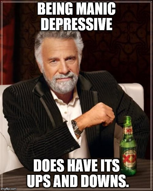 The Most Interesting Man In The World Meme | BEING MANIC DEPRESSIVE DOES HAVE ITS UPS AND DOWNS. | image tagged in memes,the most interesting man in the world | made w/ Imgflip meme maker