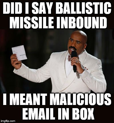 Wrong Answer Steve Harvey | DID I SAY BALLISTIC MISSILE INBOUND I MEANT MALICIOUS EMAIL IN BOX | image tagged in wrong answer steve harvey | made w/ Imgflip meme maker