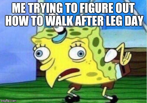 Mocking Spongebob Meme | ME TRYING TO FIGURE OUT HOW TO WALK AFTER LEG DAY | image tagged in memes,mocking spongebob | made w/ Imgflip meme maker