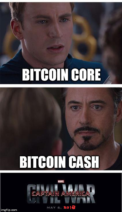 Which one has a future? | BITCOIN CORE BITCOIN CASH | image tagged in bitcoin,crypto memes,marvel civil war | made w/ Imgflip meme maker