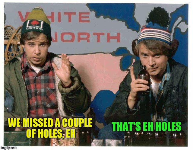WE MISSED A COUPLE OF HOLES, EH THAT'S EH HOLES | made w/ Imgflip meme maker