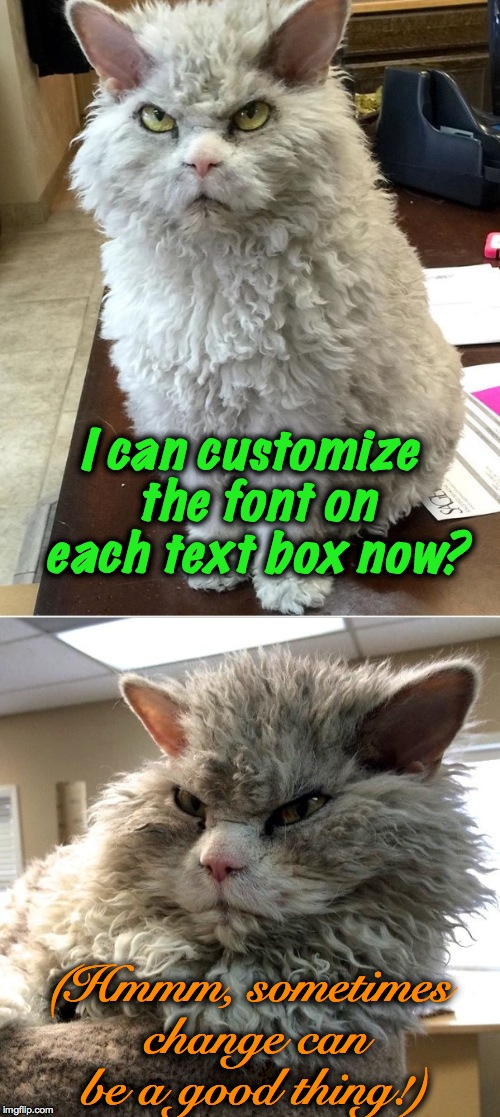 Pompous Albert finds a new feature! | I can customize the font on each text box now? (Hmmm, sometimes change can be a good thing!) | image tagged in custom fonts | made w/ Imgflip meme maker