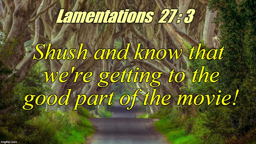 Shush and know that we're getting to the good part of the movie! Lamentations  27 : 3 | made w/ Imgflip meme maker