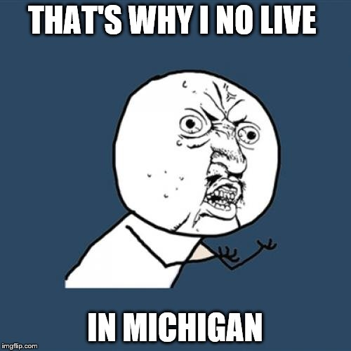 Y U No Meme | THAT'S WHY I NO LIVE IN MICHIGAN | image tagged in memes,y u no | made w/ Imgflip meme maker