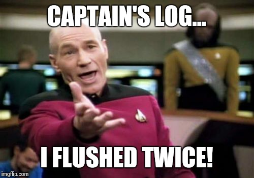 Picard Wtf Meme | CAPTAIN'S LOG... I FLUSHED TWICE! | image tagged in memes,picard wtf | made w/ Imgflip meme maker