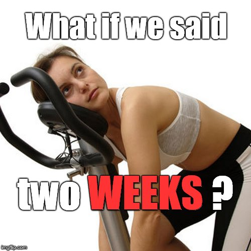 New Year's exercise resolution | What if we said two WEEKS ? WEEKS | image tagged in new year's exercise resolution | made w/ Imgflip meme maker