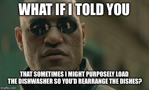 Matrix Morpheus Meme | WHAT IF I TOLD YOU THAT SOMETIMES I MIGHT PURPOSELY LOAD THE DISHWASHER SO YOU'D REARRANGE THE DISHES? | image tagged in memes,matrix morpheus | made w/ Imgflip meme maker