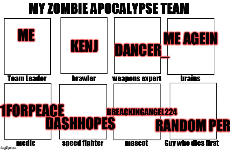 My Zombie Apocalypse Team... | ME KENJ ME AGEIN 1FORPEACE BREACKINGANGEL224 DANCER_ RANDOM PERSON DASHHOPES | image tagged in my zombie apocalypse team,memes,meme | made w/ Imgflip meme maker